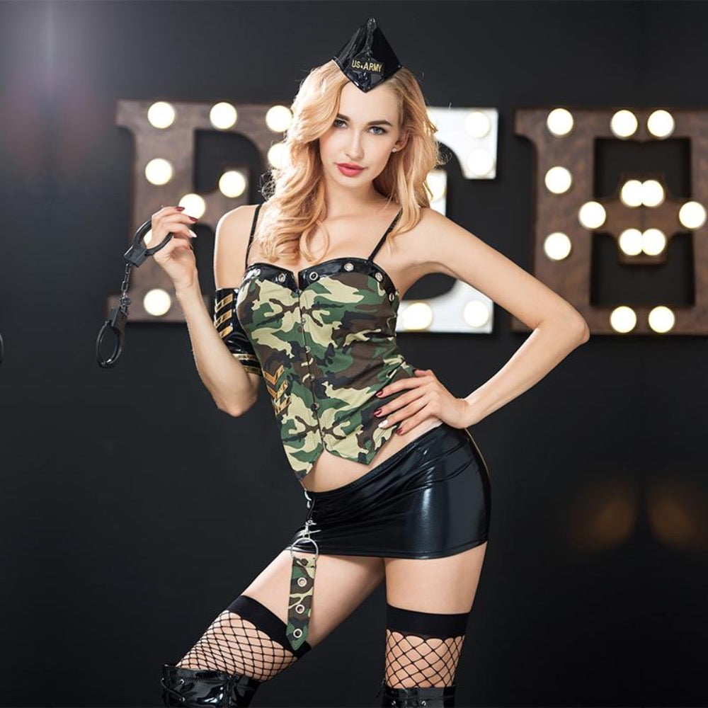 Army Set Pin-Up Vollansicht - Organza Lingerie