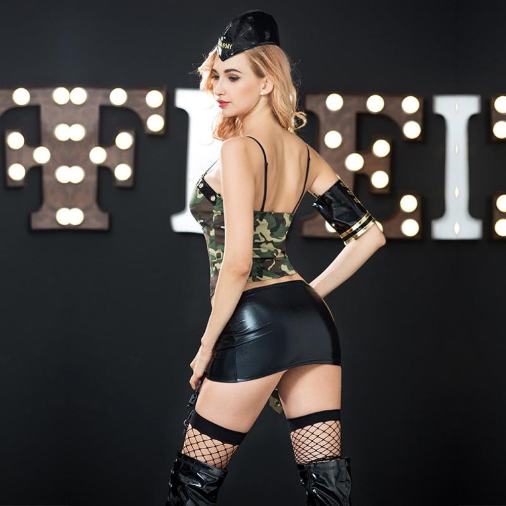 Army Set Pin-Up Rückansicht - Organza Lingerie