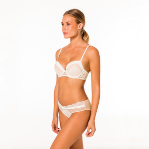Push-up BH Champagne in ivory und rosénude - organza-lingerie