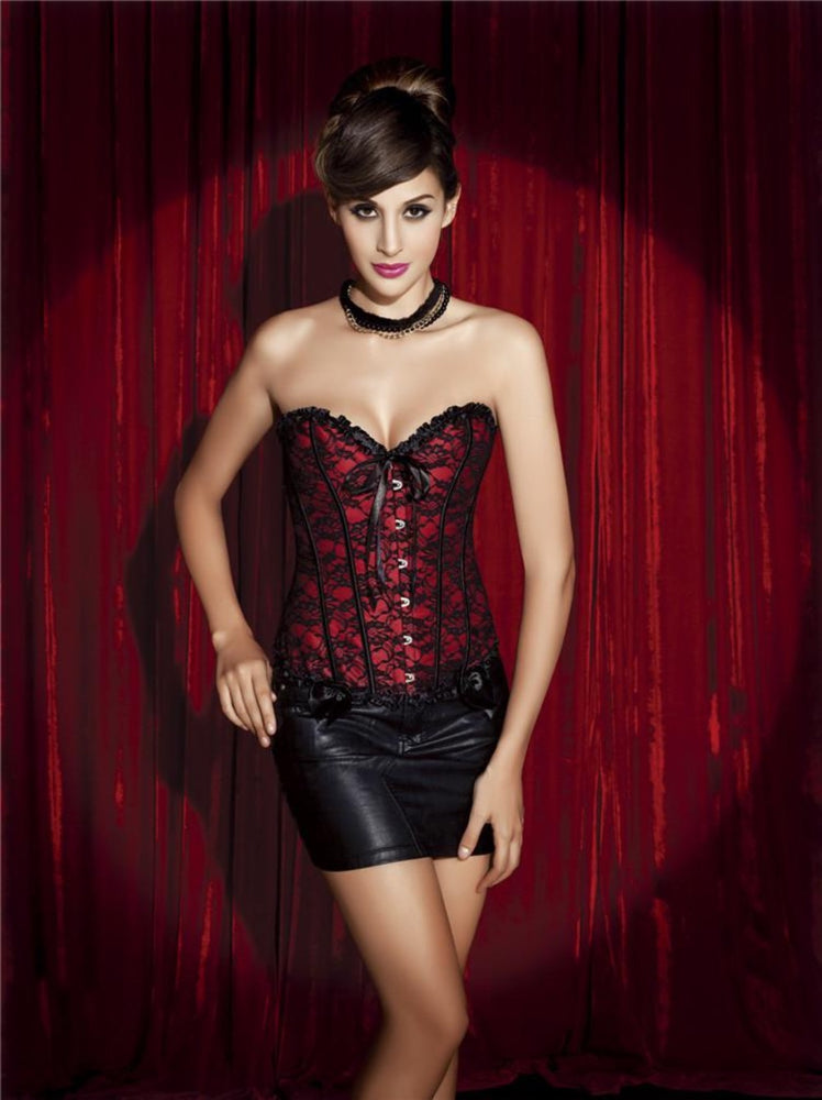 Korsage Lucy Lace in rot-schwarz 815