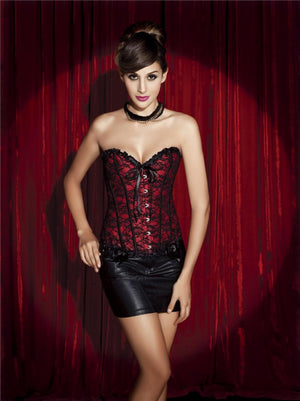 Korsage Lucy Lace in rot-schwarz - organza-lingerie
