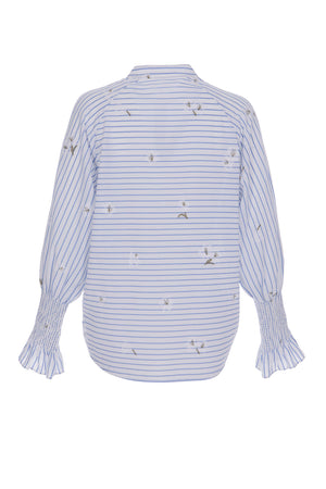 Women's Jacquard Striped with Shirred Cuffs