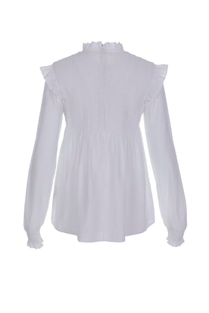 Women's High Neck Shirred Yoke Shirt