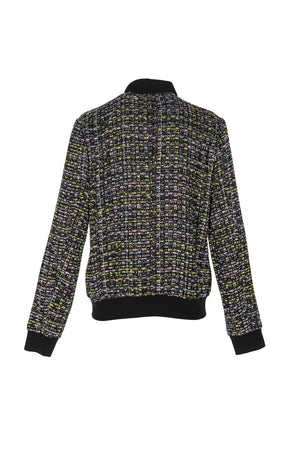 Women's Tweed Textured Bomber Jacket