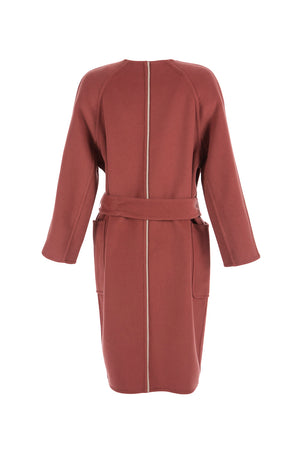 Women's Double Face Wool Belted Overcoat