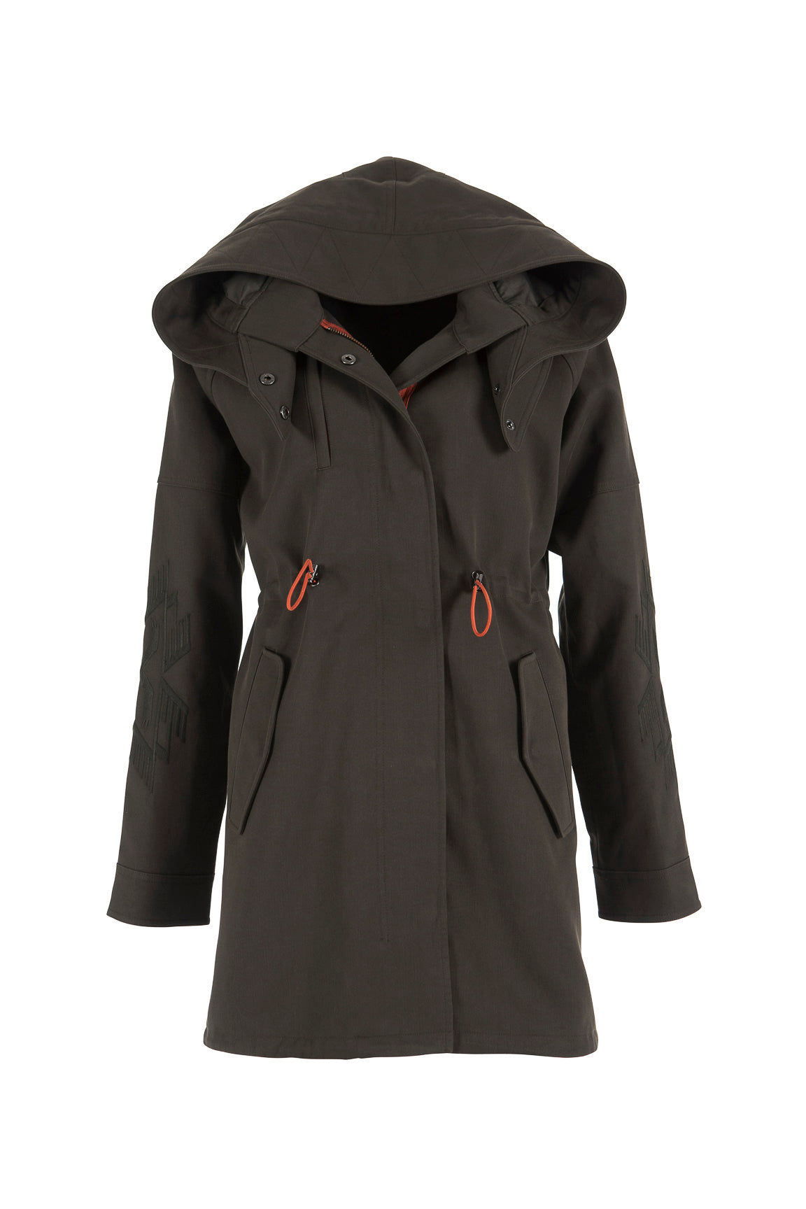 Women's Hooded Casual Parka with Embroidered Sleeves