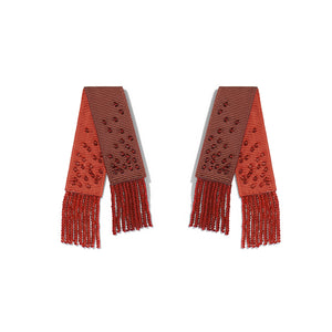 Beaded Mambo Earring- Dark Red