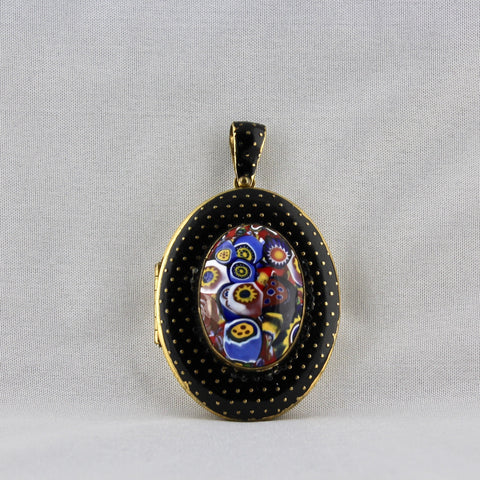 Black Millefiori Locket