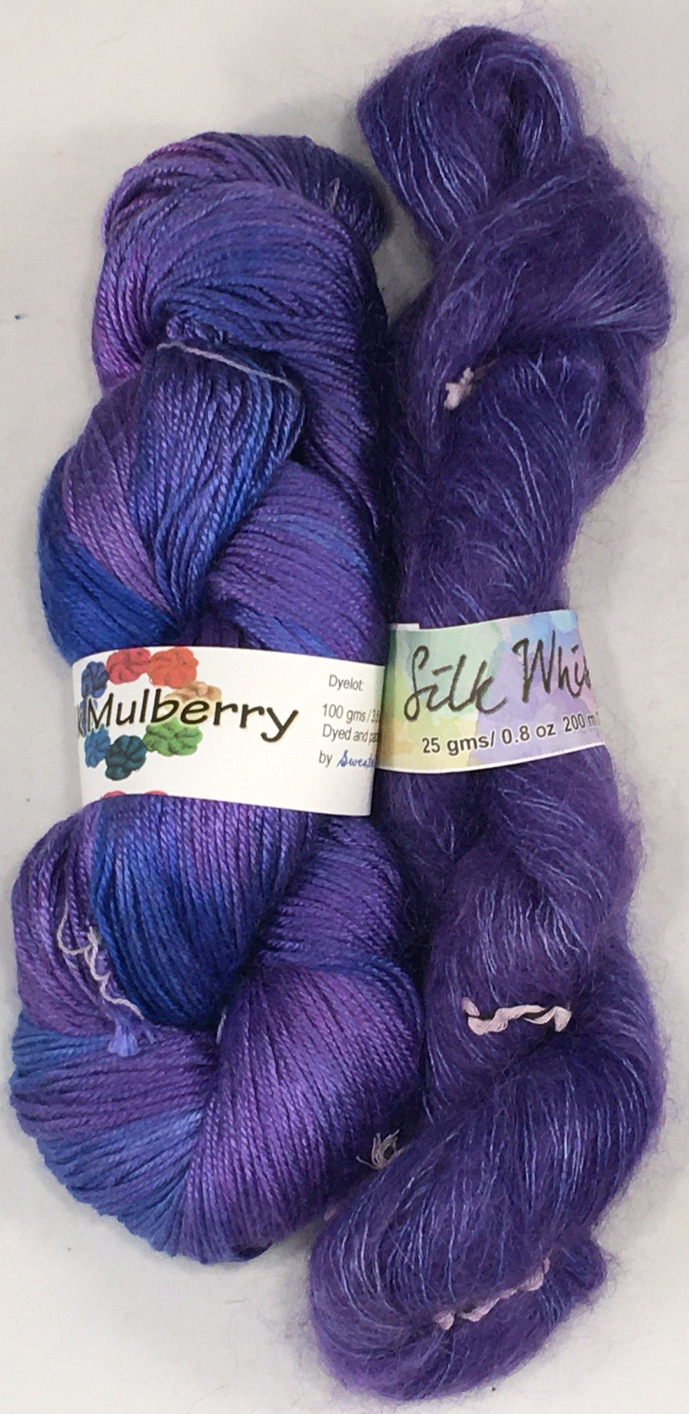 YarnFlower Whisper & Mulberry Wrap 75c