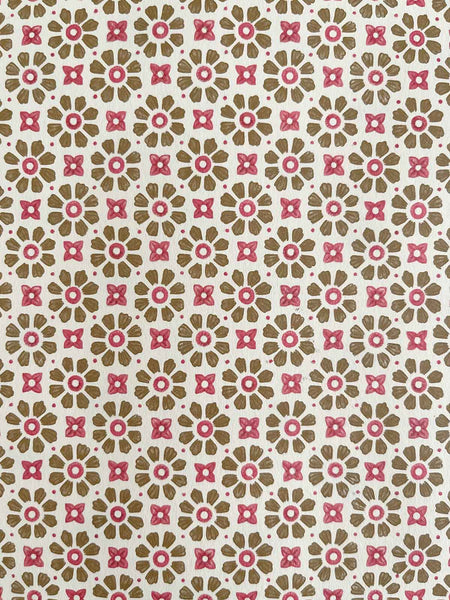 Paper - Beige brown & red flower print