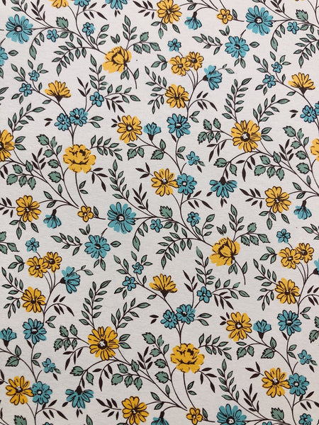 Paper - Light blue & yellow petite flowers