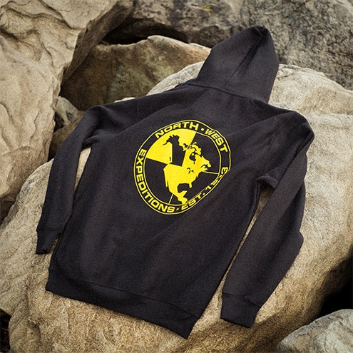 North-West Expeditions Classic Hoodie on Rocks (back)