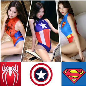 Swimsuit Adult Cosplay Costume Spiderman Captain America Super Heroes Superman Halloween Girls Women Spider SUKUMIZU Romper