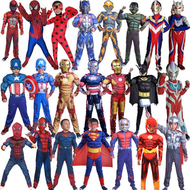Captain America Avengers Cosplay Costume Boy Muscle Superhero Costume Spiderman Batman Superman Iron Man Captain Jumpsuit child