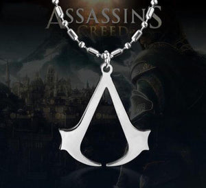 Assassins Creed Ezio Cosplay Titanium Alloy Pendant Silver Necklace Unity Stainless Steel Pendant Necklace for Men Women