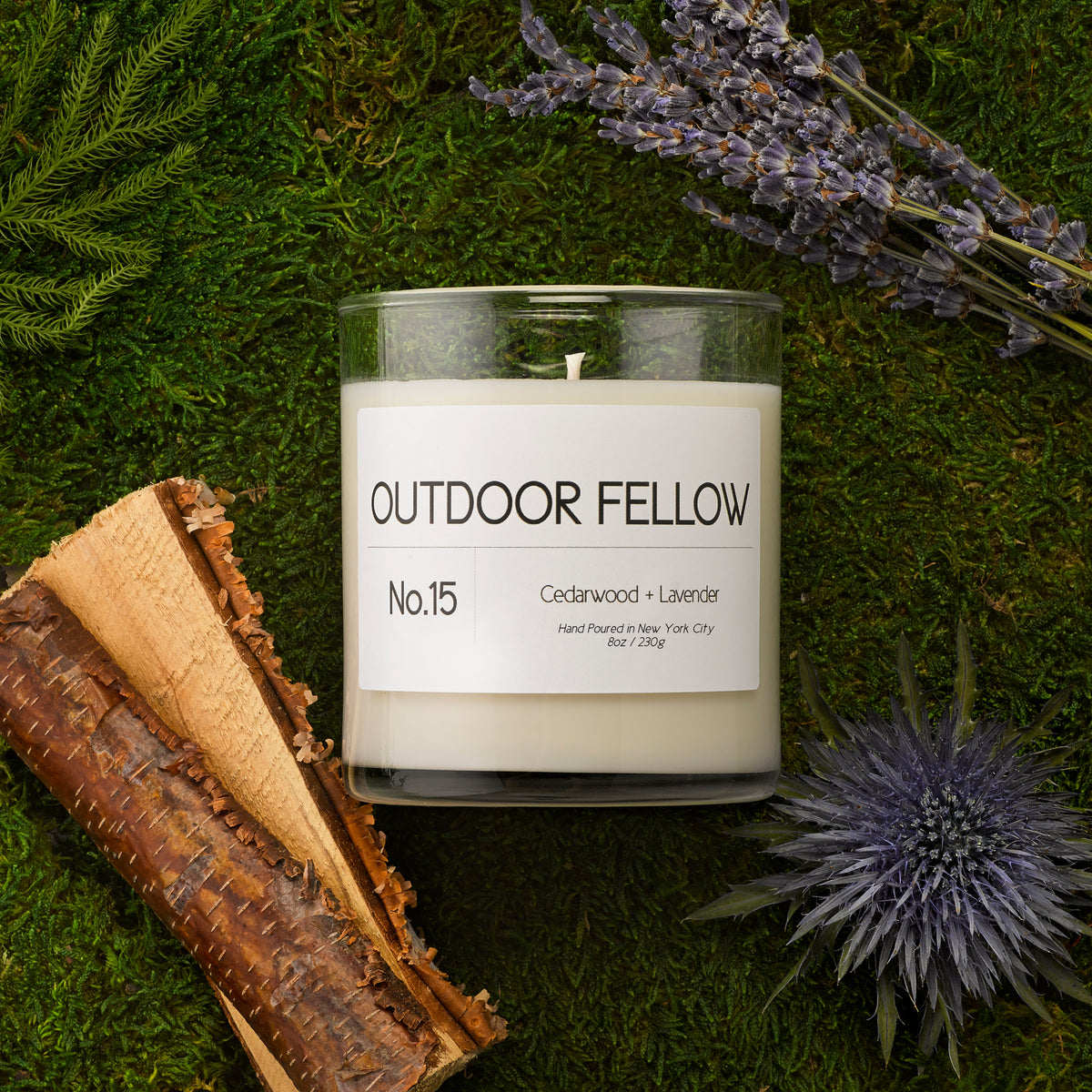 No.15 Cedarwood + Lavender scented candle