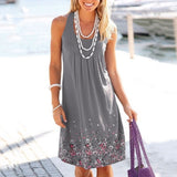 Clothing - Sleeveless Floral Print Loose Dress (10 Colors)