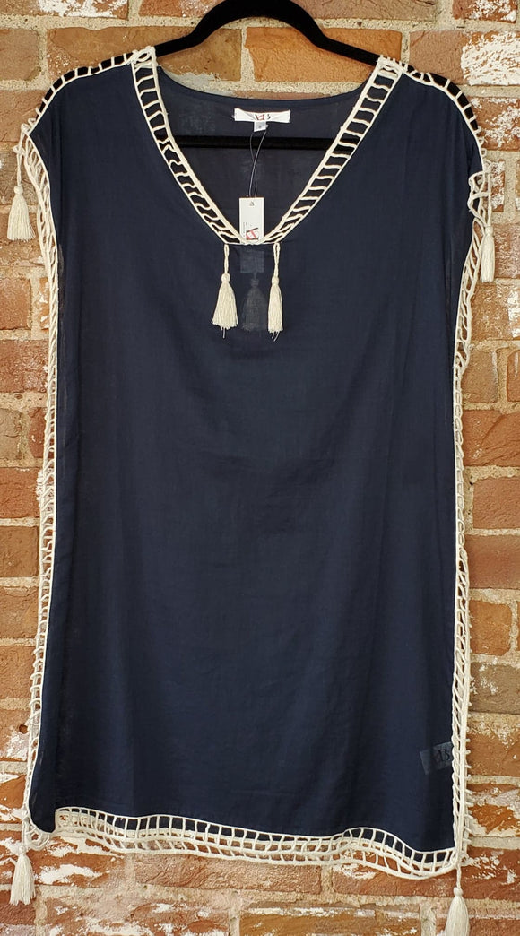 Navy Coverup with Open-Stitch Hems
