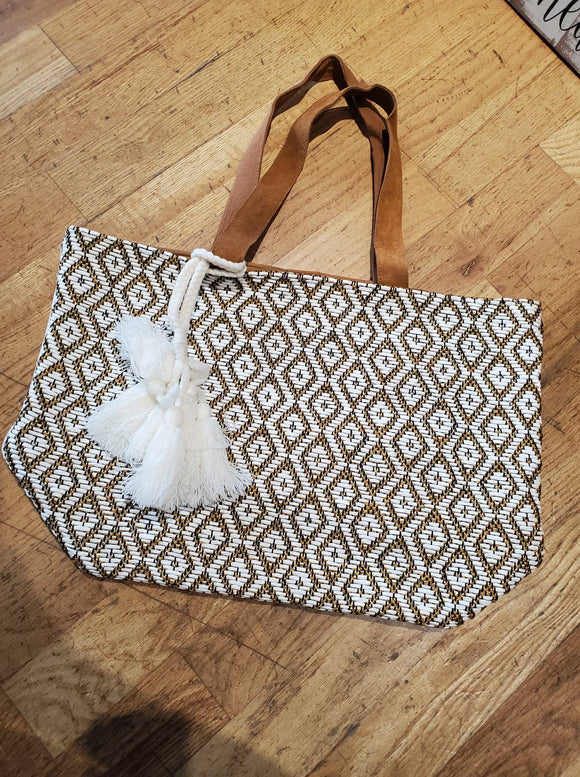 Gold and White Woven Tote