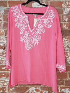 Embroidered Salmon Pink Top