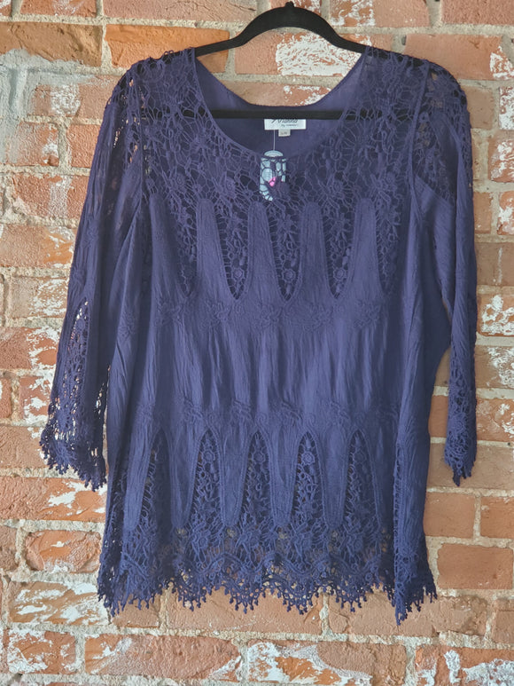 Navy Lace Blouse