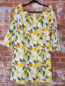 Lemon and Floral Off-the-Shoulder Top, Plus Size