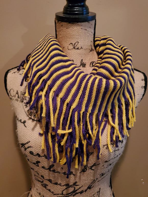 Purple and Gold Knit Fringe Scarf