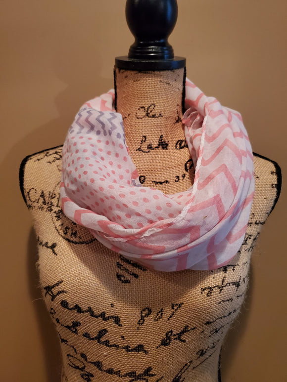 Pink and Gray Multi-Pattern Scarf