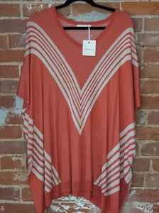 V-Striped Sleeveless Tunic