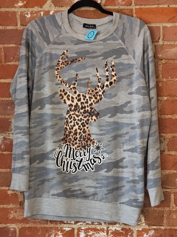 Camo and Cheetah Merry Christmas Shirt