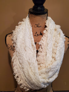 Lace Fringed Infinity Scarf