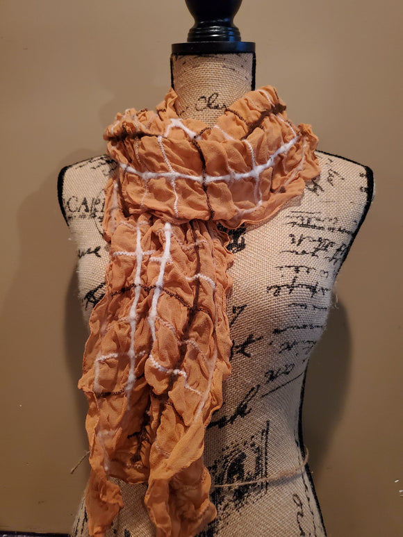 Ruched Orange Scarf