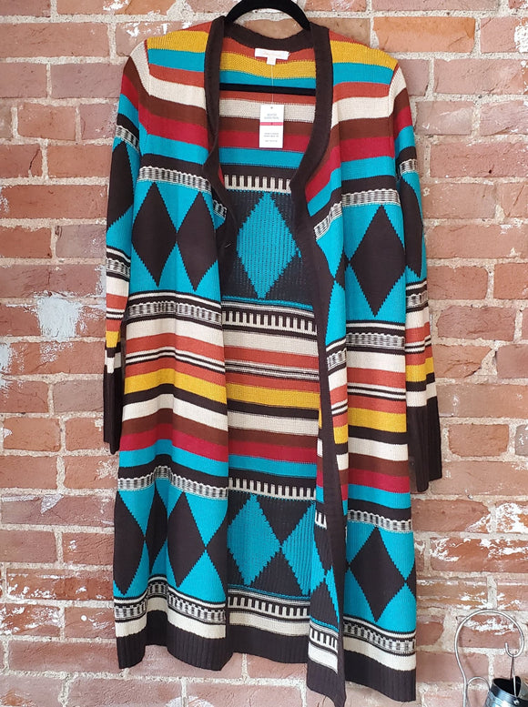 Multi-Color Tribal Print Open-Front Duster