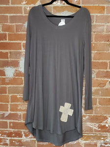 Olive Shirt Dress with Stitched Cross