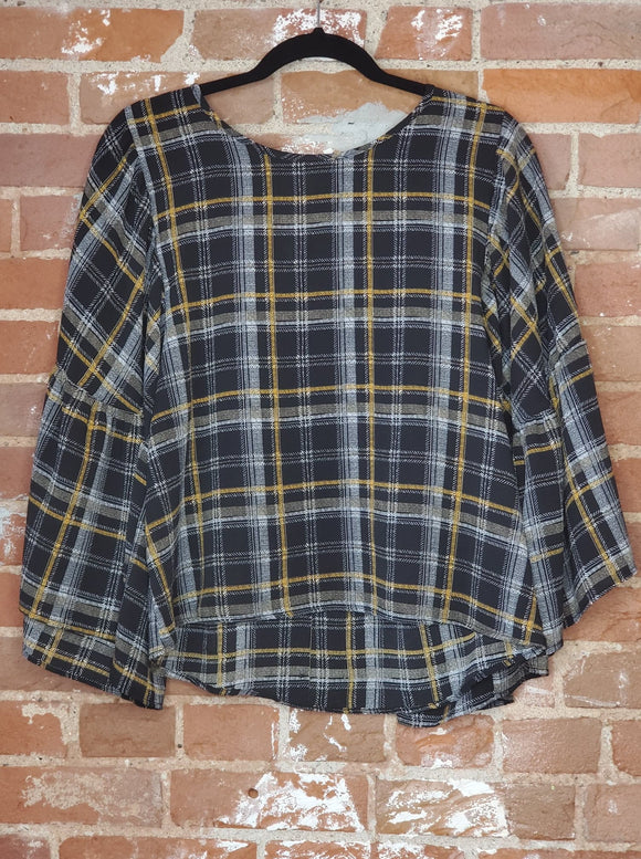 Plaid Top with Ruffle Sleeves