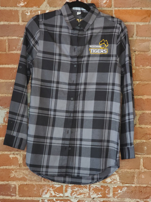 Gray Plaid Woodbine Tigers Button Down