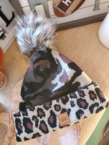 Camo and Animal Print Plaid Pom Hats