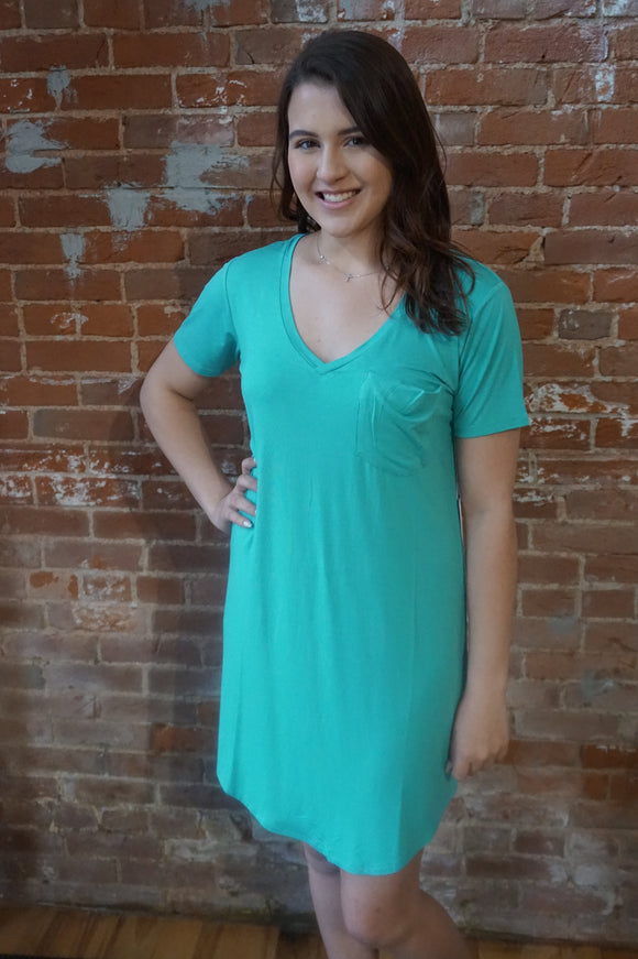 Teal T-Shirt Dress