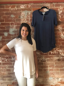 Asymmetrical Hem Top with Necklace