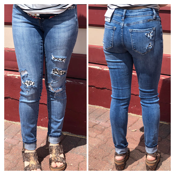 Distressed Skinny Jeans with Cheetah Print