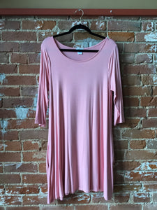 Pink 3/4 Sleeve Shirt Dress