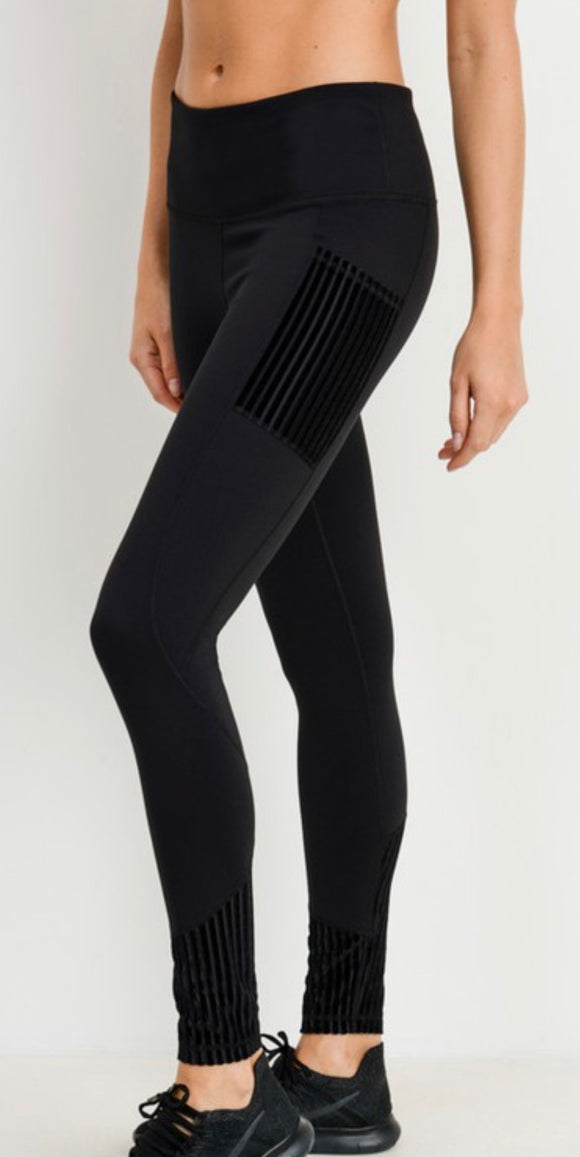 High-waisted Leggings with Velvet Detail