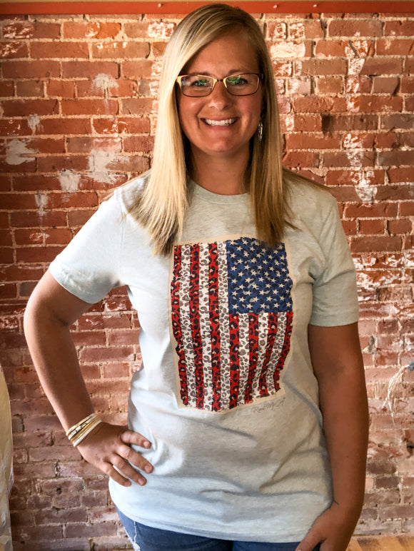 Cheetah Print American Flag Shirt