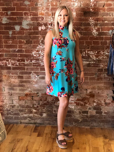 Turquoise Floral Halter Dress