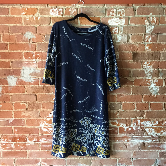 Navy and Gold 3/4 Sleeve Shirt Dress