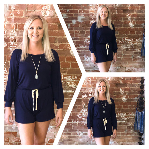 Navy Off-the-Shoulder Romper