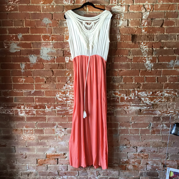White and Coral Maxi Dress