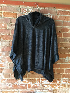 Cowl Leather Trim Poncho