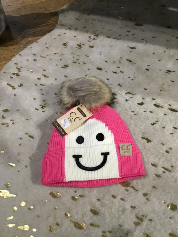 Kids Knit Hat with Smile