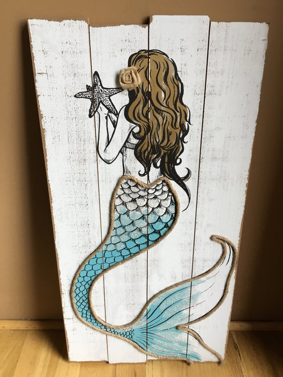 Mermaid portrait on weathered fake barn wood.